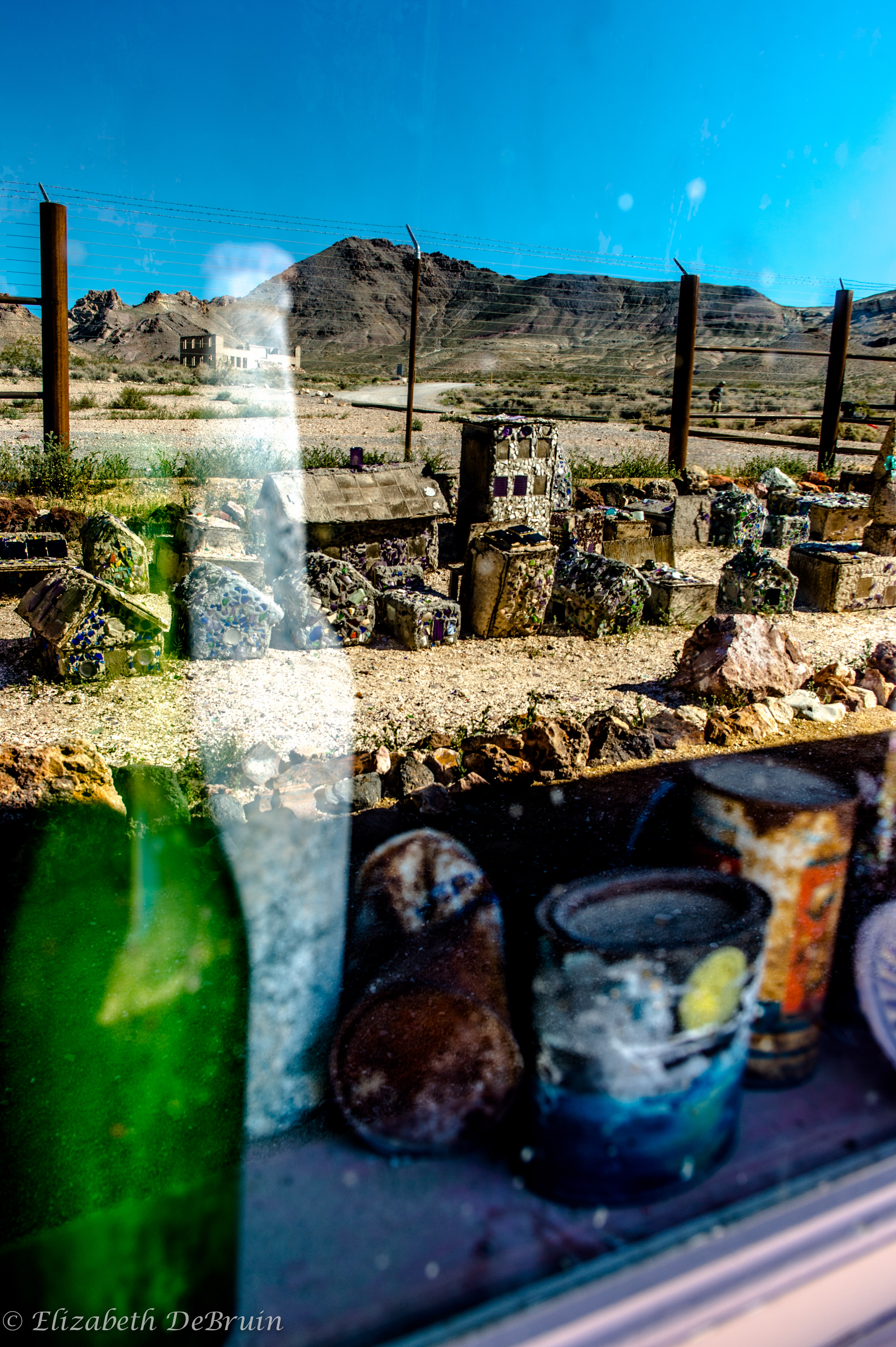 Ghost town Rhyolite as seen from the bottle house.