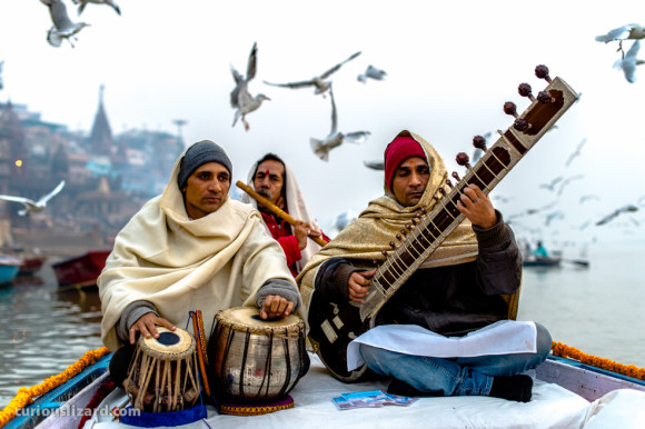 Musicians. Ganges River, Varanasi, India.